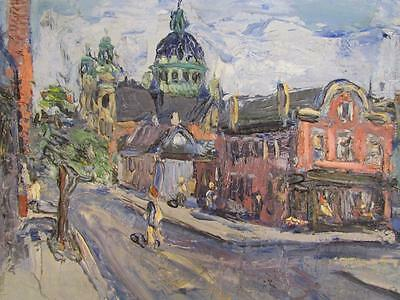 ANTIQUE 1930s JOHN STEPHAN IMPRESSIONIST PAINTING, NEW YORK ABSTRACT ARTIST #5