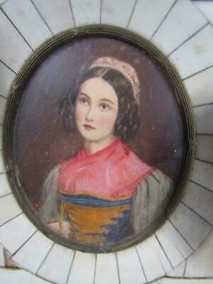 ANTIQUE 19c. MINIATURE FRENCH PORTRAIT PAINTING of YOUNG MAIDEN