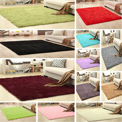 2018 Large Shaggy Floor Rug Plain Soft Sparkle Area Mat Thick Pile Glitter New