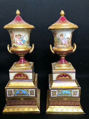 Antique Pair of !9th Century Royal Vienna Urns Vases Hand Painted Gilded
