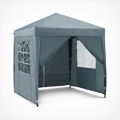 2M Grey Pop up Gazebo Garden Marquee Shelter, Outdoor Canvas Easy up Tent New.