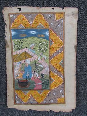 ANTIQUE 18c. ANGLO INDIAN MUGHUL HAND PAINTED MANUSCRIPT BOOK PAGE, PAINTING