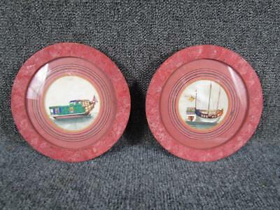 2 ANTIQUE 19c. miniature CHINESE RICE PITH PAPER PAINTINGS OF CHINESE JUNK SHIPS