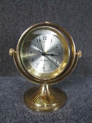 Vintage Brass Seth Thomas Gimball Mounted Marine Clock, Needs Quartz Movement