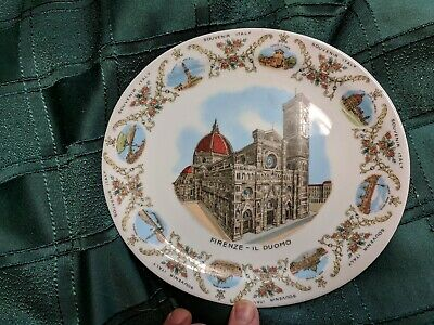 """VINTAGE ~ 8"""" FIRENZE - IL DUOMO Florence ITALY SOUVENIR PLATE - Nice condition"""