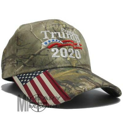 New Donald Trump Cap Keep America Great hat President 2020 Flag Real tree Edge