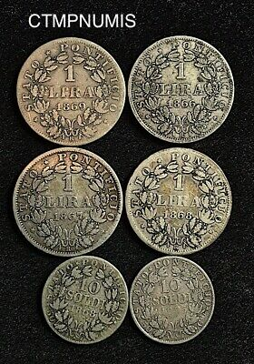 Italie  Vatican  Pie Ix  Lot De 6 Monnaies  Argent  Differentes