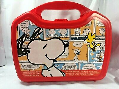 Snoopy Peanuts Whirley DrinkWorks Red Lunch Box Rare Cedar Point Kings Dominion