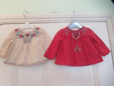 0-3m: 2 pretty MONSOON tops/blouses: Red & Ivory: Embroidered: Good condition