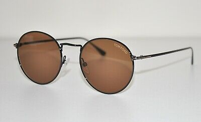 77fe59bbbb4f Tom Ford Ryan-02 Unisex Sunglasses TF0649 01E Round Black/Brown 649 NEW $395