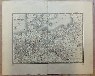 PRUSSIA POLAND ENGRAVED & EDITED by BRUE 1829 19e CENTURY LARGE ANTIQUE MAP