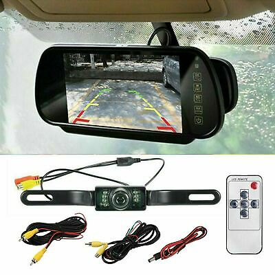 "7"" Car Rear View Mirror Monitor Night Vision Reversing Parking Backup Camera Kit"