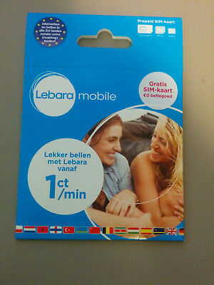(Lot of 5) Lebara NL Prepaid Karte - 3 in 1 sim - Anonym & Aktif
