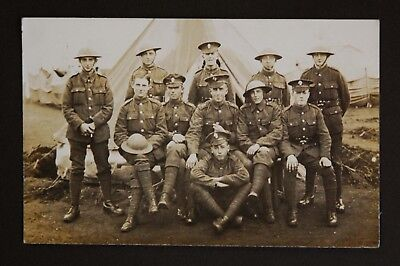 WW1 Postcard RP Tommy Atkins Soldiers With Steel Helmets Camp Photo Ipswich