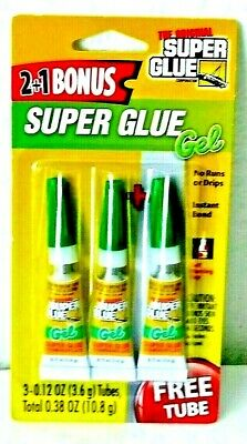 The Original Super Glue Cyanoacrylate Gel, 3 - 0.12 Oz  Tubes (10.8 GRAMS) New