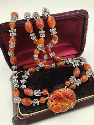 Vtg Chinese Export Carved Carnelian Brooch Pendant Necklace Rock Crystal Double