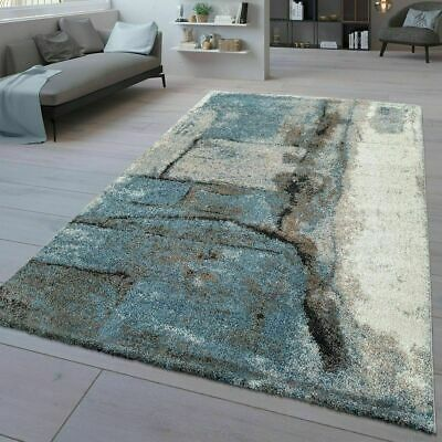 Modern Rug Abstract Small Extra Large Living Room Carpet Stone Pattern Blue Grey