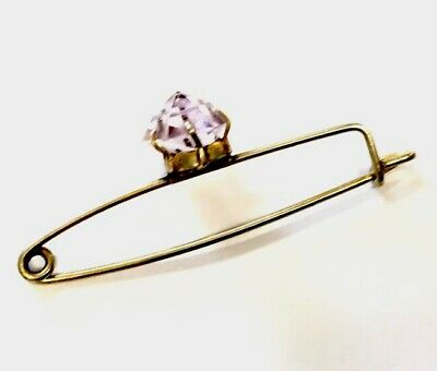 Antique Gold Gilded Art Deco GEOMETRIC Faceted Amethyst Brooch Pin