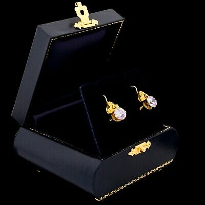 Antique Vintage Art Nouveau 18k Yellow Gold Arts & Crafts Quartz Stud Earrings