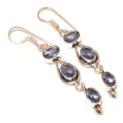 Stunning Faceted Iolite Gemstone silver plated Handmade Bezel Set Long Earrings