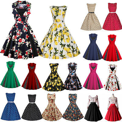 UK Women 50S 60S Rockabilly Dress Vintage Style Swing Pinup Housewife Prom Party
