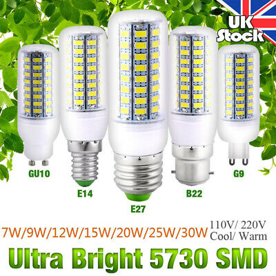4Pcs E27 B22 GU10 E14 G9 High Bright LED Bulb Lamp Home Corn Light AC220V 7-30W