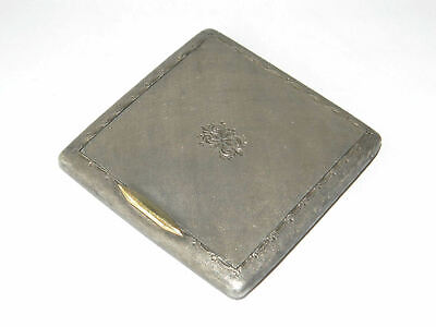 Vintage Powder Box Solid Sterling Silver w/ 18K Yellow Gold Button Spring-Loaded