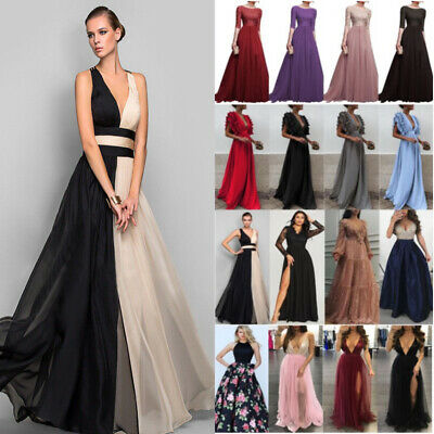 UK Women Chiffon VNeck Maxi Dress Evening Party Gown Cocktail Wedding Bridesmaid