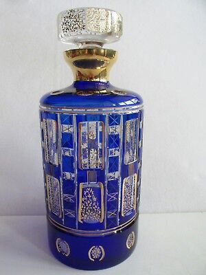 Czech/Bohemian COBALT BLUE CUT TO CLEAR CRYSTAL DECANTER CARAFE Paper label