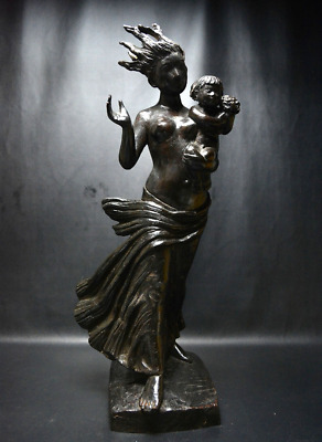 Japanese Vintage Mother and Child Large Bronze Statue by Katsuzo Entsuba 28""