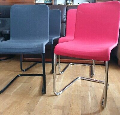 4 Stackable Retro Style Bistro Dining Chairs. Red & Black Fabric, Vgc. Stacking