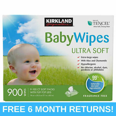 Kirkland Signature Baby Wipes 900 Ct. Count Hygiene Hypoallergenic Extra Large