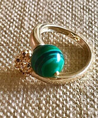 Ring In 925 Sterling Silver, 18K Yellow Gold Plated With Malachite And Gold S