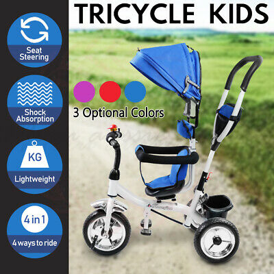 4in1 Baby Toddler Kids Tricycle Bike 3 Wheels Reverse Trike Parent Push Stroller