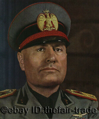 Mussolini Portrait World War 2 Collection Item Color Europe Oil Painting Canvas