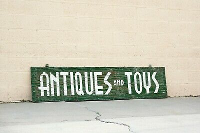 Extra Large Vintage Sign From Antiques and Toys Storefront, Hand-Painted