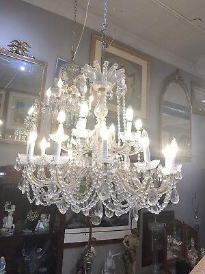 MAGNIFICENT BRONZE CRYSTAL ITALIAN 50's DINING ROOM ENTRY CHANDELIER