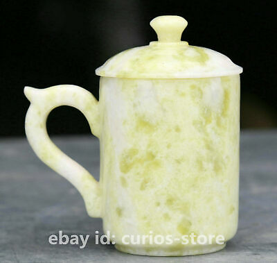 """3.9"""" Chinese Natural Lantian Jade Hand-carved Ancient Jade Cup Teacup Pot Statue"""