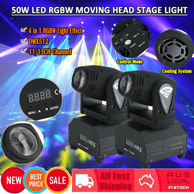 2Pcs 50W LED DMX RGBW Moving Head Stage Light DMX512 Disco DJ 11/13CH Projector
