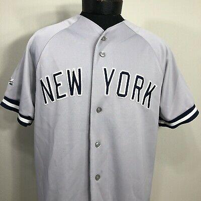 571e3c0c1 VTG New York Yankees Jersey Gray Sewn Men's Large Majestic Road MLB Baseball