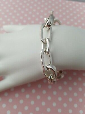 Silver Plated Chain Bracelet Toggle Clasp Oval Links Vintage Retro Looped Chunky