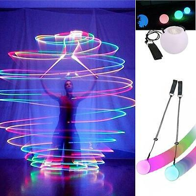 LED Multi-Colored Glow POI Thrown Balls Light Up For Belly Dance Hand Props  GL