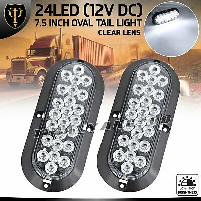 "2 X 6"" Oval 24 LED 12V Surface Mount White backup Tail Light Truck Trailer Lorry"