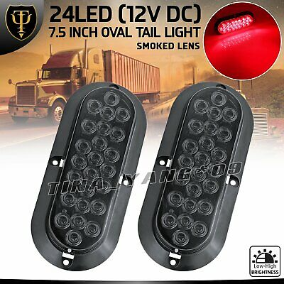 """2 x 12V Shockproof 6"""" Smoked Lens Red 24 LED Oval Stop Brake Tail Rear Light Bus"""