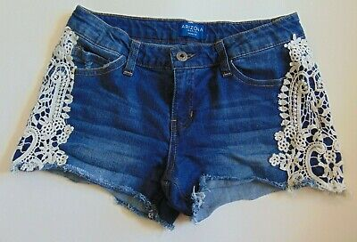 af95b665 Arizona Shortie Short Girls Size 12 Plus Denim Jean Shorts Crocheted Lace  Adjust