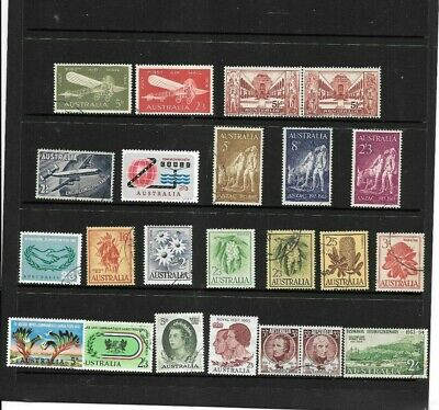 Stamps  Aust Pre Decimal   1958-63 Selection Of 23 Stamps All Fine Used