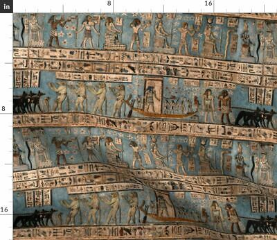 Ancient Egyptians History Upholstery Egypt Fabric Printed by Spoonflower BTY