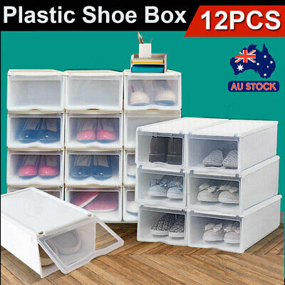 12PCS Storage Clear Drawer Shoe Boxes Stackable Foldable Case Home Wardrobe Box