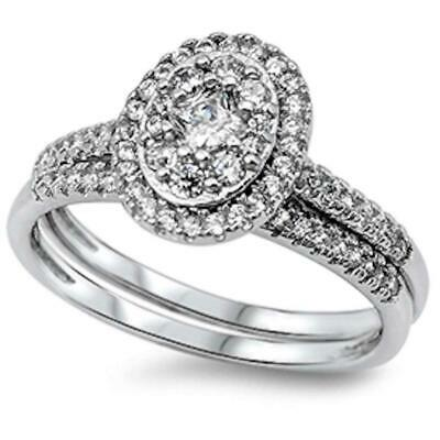 1CT Princess & Round Cz 2 Rings Set .925 Sterling Silver Ring