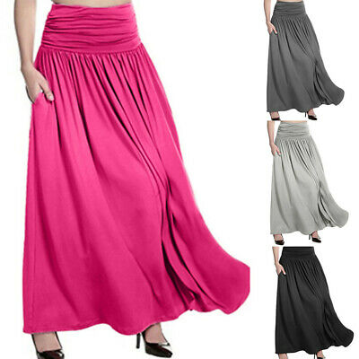 Plus Size Women High Waist Solid Maxi Skirt Ladies Casual Swing Gypsy Long Skirt